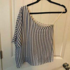 Blue and white one shoulder blouse